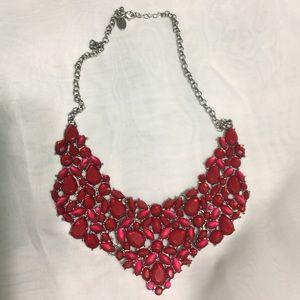 Versona red bib cluster necklace